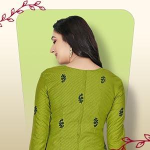 Miraan Cotton Printed Readymade Salwar Suit for Women (MIRAANSGPRI423, Green) SPN-FOR1
