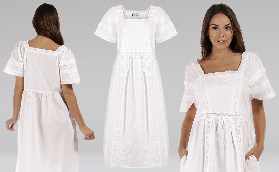 Woman in white nightgown against white background