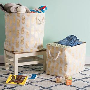 Metallic Pineapple Storage Baskets with Handles