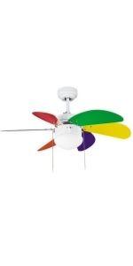 Ventilateur de plafond avec lumière multicolore