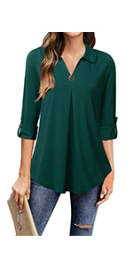 3/4 roll sleeve tops for women