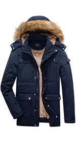 Drem blue warm winter coat for menamp;#39;s, 8 pocket