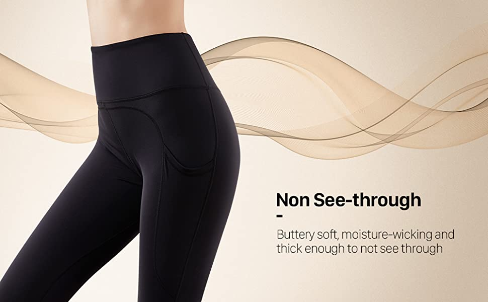 Yoga Pants with Pockets-Non See-through
