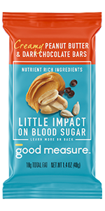 Good Measure Bar Peanut Butter and Dark Chocolate Low Blood Sugar Impact Protein Bar Low Carb Diet