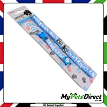 Blue with White Printed Bone Design 2-in-1 Dog Lead and collar Set