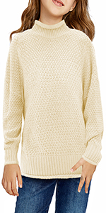 Girls Turtleneck Sweaters Cable Knit Chunky Pullovers Casual Long Sleeve Loose Jumper Tops