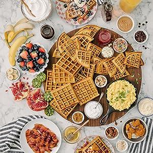 A waffle breakfast spread.