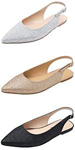 beige slingback glitter flat sandal summer bing shiny slide slipper slip on pointy pretty fashion