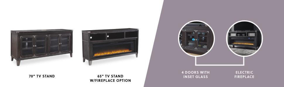 home entertainment tv stand fireplace option 4 door electrical fireplace black