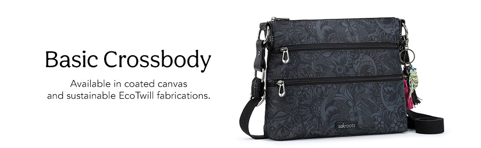basic crossbody available in coated canvas and sustainable ecotwill fabrications