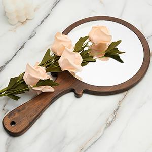 handheld mirror wooden