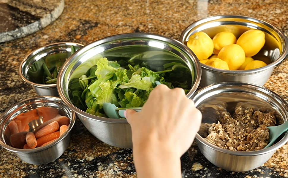 Stainless Steel Mixing Bowls with Food