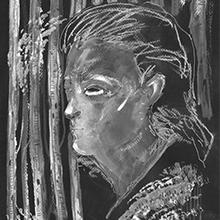 Ilustração de um rosto masculino na floresta