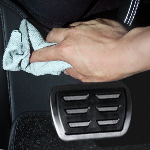 Wipe clean the car interior for the first step.