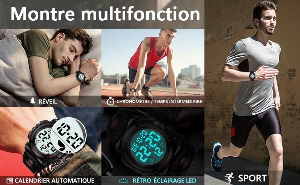 CIVO Montre Homme Sport Militaire Montre Digitale LED Montres Bracelet Hommes Numerique