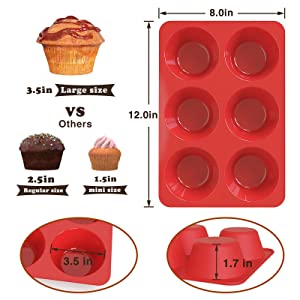 6 cup large jumbo silicone texas cupcake pan with 3.5 inch for muffin,cupcake,egg bite,quiche