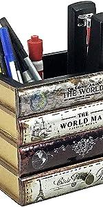 Bellaa Pencil Holder Vintage Book Box Pen Holder with Drawer Candy Desk Organizer Office