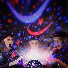 luminária; abajur giratório; projetor LED RGB; projetor starry night estrelas lua; night light