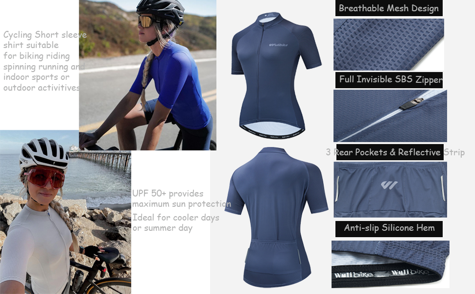 women Cycling Jerseys with Short Sleeves,Girls Bike Short Sleeves with Three Pockets