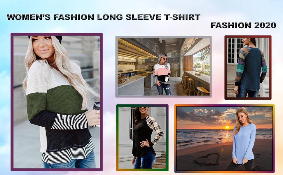 Ladies Long Sleeve Oversized T Shirt Striped Crewneck