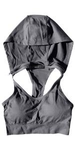 charcoal grey sports bra hoodie with detachable hood