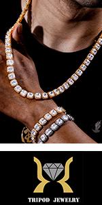 TRIPOD JEWELRY Mens Womens 10mm Tennis Bracelet