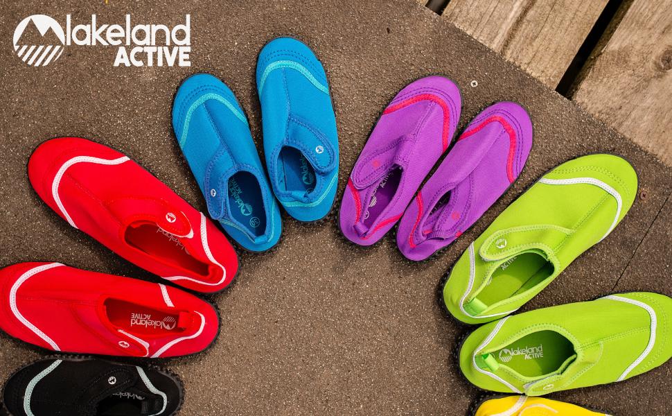 Kids childrens aqua swim shoe swimming velcro easy fastening comfy slip-on stretchy beach pool