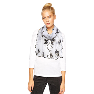 clear white fuffle scarf