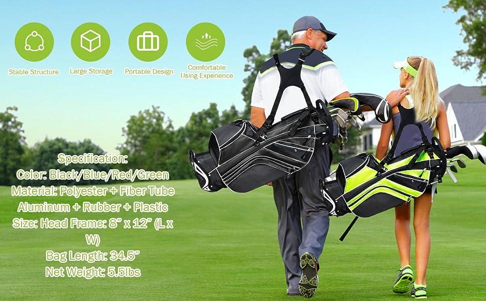 Portable stand golf bag