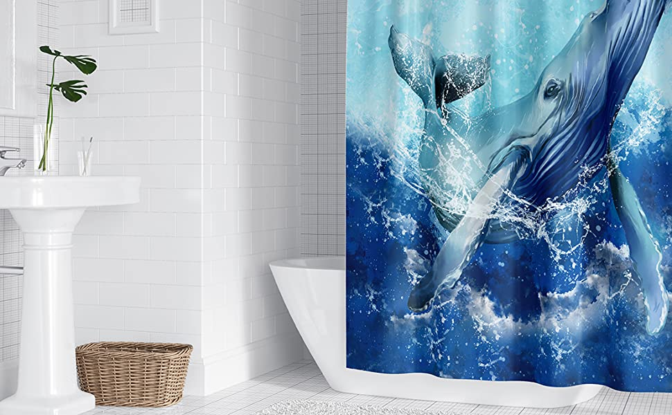 Blue Whale Shower Curtain Sets