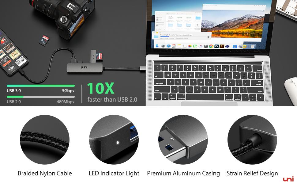 uni USB Hub Compatible with PC, MacBook Air, Mac Pro/Mini, iMac, Surface Pro