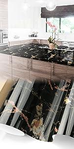 Gloss Golden Black Marble Granite Vinyl