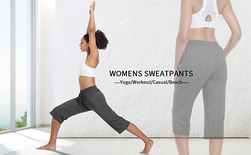 Women's Yoga Capris Lounge Pants Indoor Sweatpants Straight Wide Leg Crop Jersey Pants with Pockets
