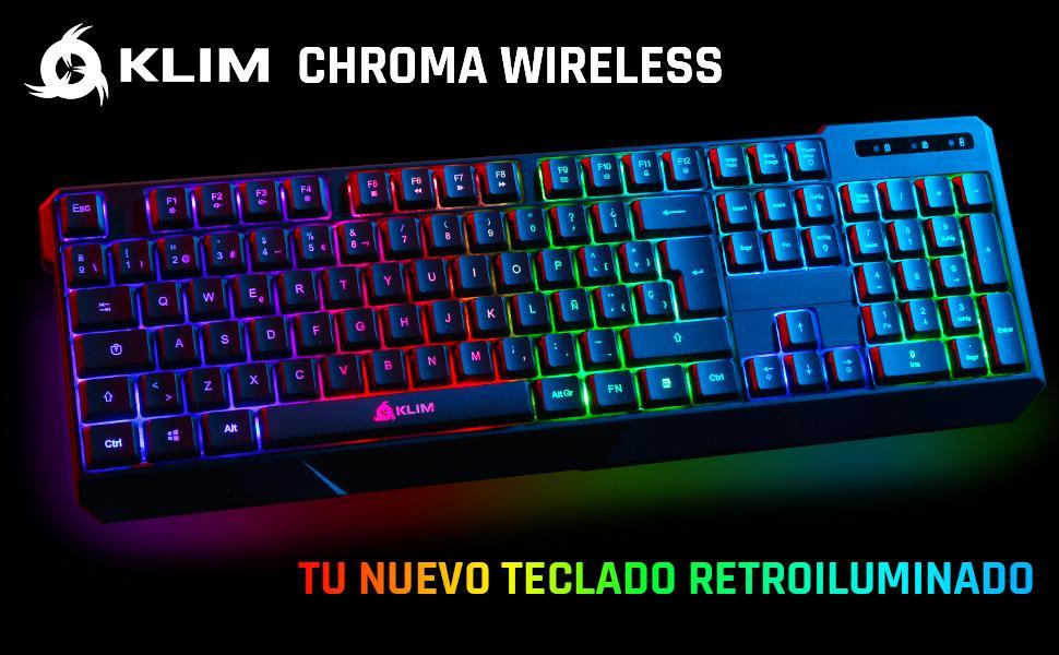 KLIM™ Chroma Wireless - Teclado inalámbrico Gaming ESPAÑOL + Teclado Gaming Ligero, Duradero, resiste al Agua, ergonómico, silencioso + Teclado Gamer ...