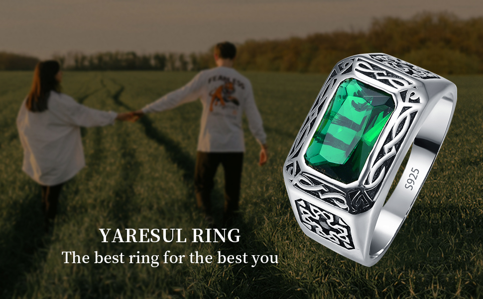 6.85ct 8X12mm Radiant Cut Created Emerald 925 Sterling Silver Wedding Engagement Band
