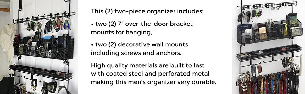 Longstem Men's Organizer Valet includes over the door and wall mounted brackets
