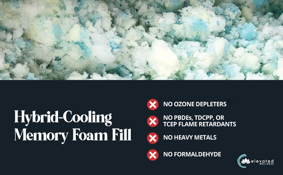 hybrid cooling memory foam fill, elevated wellness