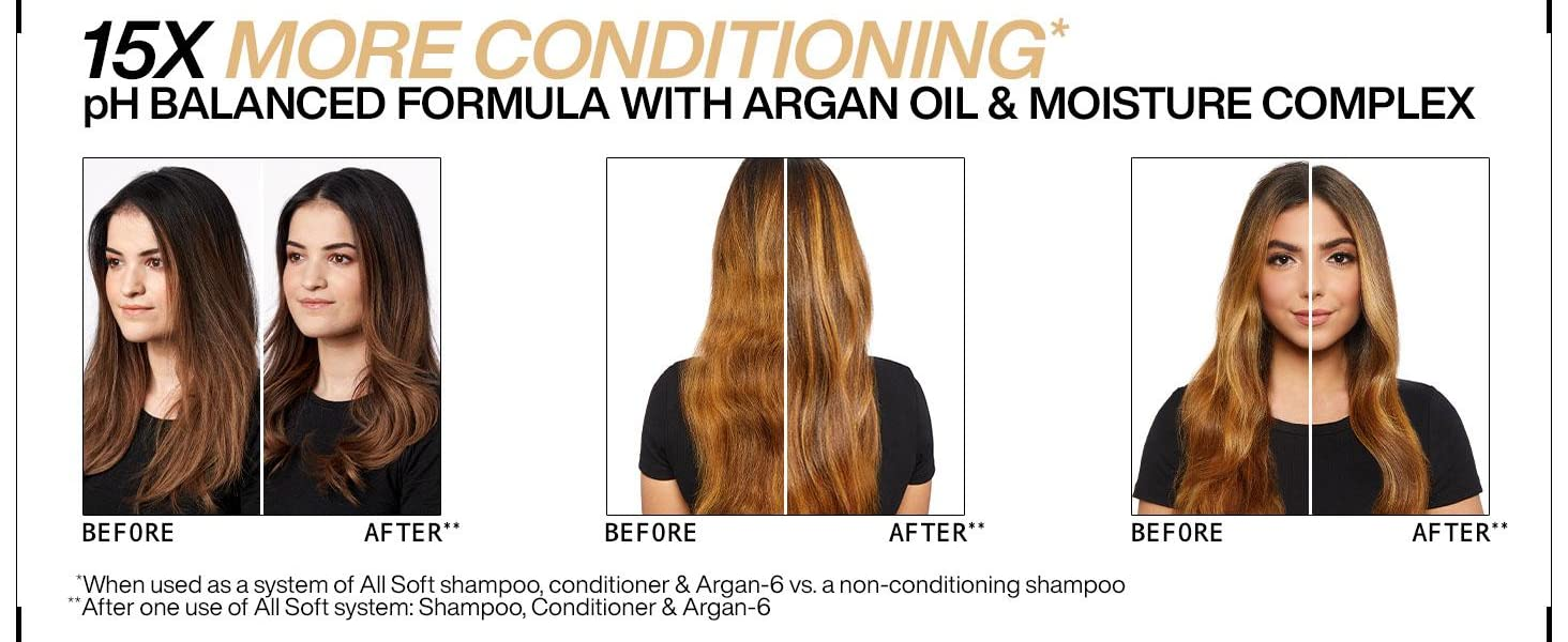 redken all soft shampoo and conditioner 15x more conditioning pH balanced formula with argan oil