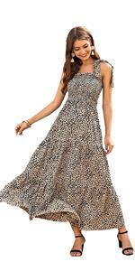 Leopard Print Tie Strap Summer Cami Maxi Dress