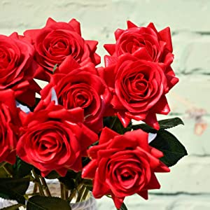 real touch feel real red roses individual stems