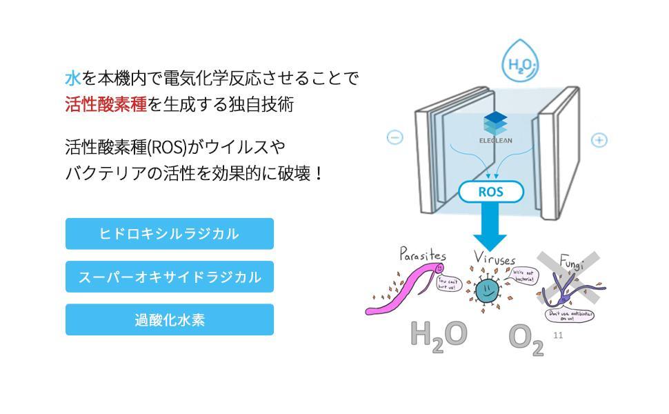 水を本機内で電気化学反応させることで 活性酸素種を生成する独自技術