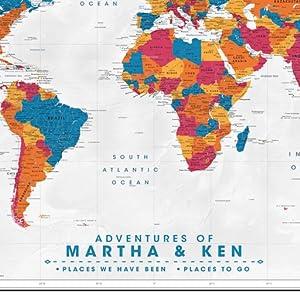 world travel map push pin