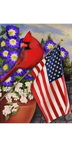 Red Cardinal Summer Fall Garden Flag