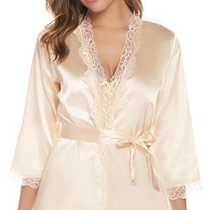 iClosam Batas y Kimonos Mujer Satén Encaje 2 Piezas,Camisón Satén Sexy Elegante Pijama Cortos para Mujer Novia Dama de Honor