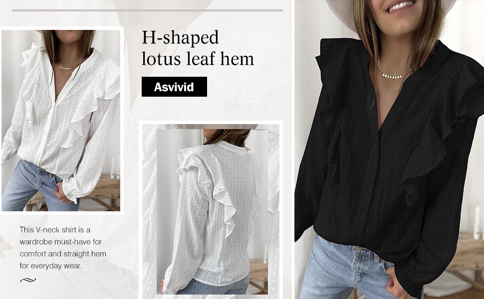 Womens Casaul Button Down V Neck Hollow Out Crochet Blouses Fall Long Sleeve Flowy Shirts