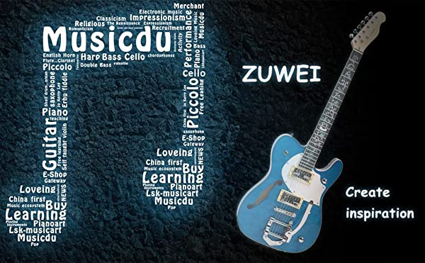 ZUWEI エレキギター teleテレキャスタータイプ カスタムシリーズ 花インレイブルー