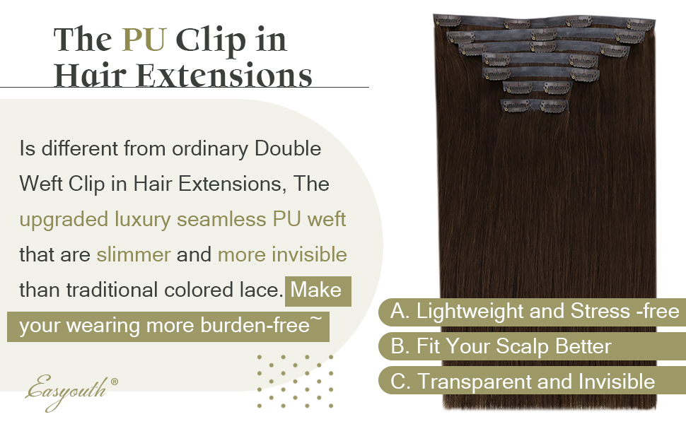 seamless clip in human hair extensions
