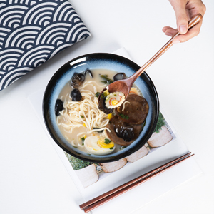 Glaze ceramic ramen bowl with Spoon and Chopsticks