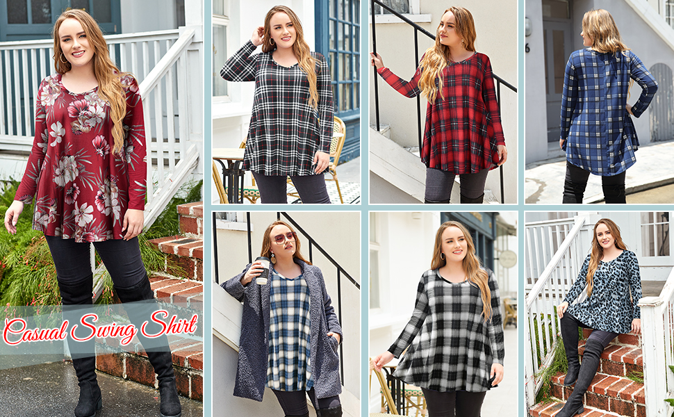 8056 A Must Multiple Patterns Plus Size Women Round Hem Tshirts In Your Wardrobe