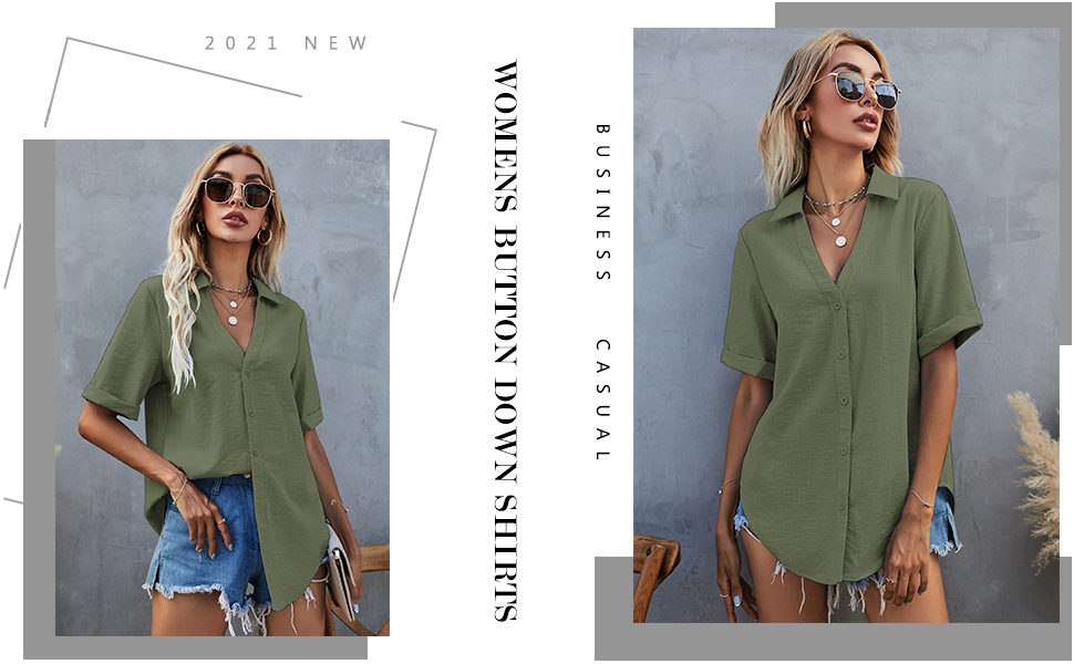 Cotton Linen Collared V Neck Tops Blouses Business Casual
